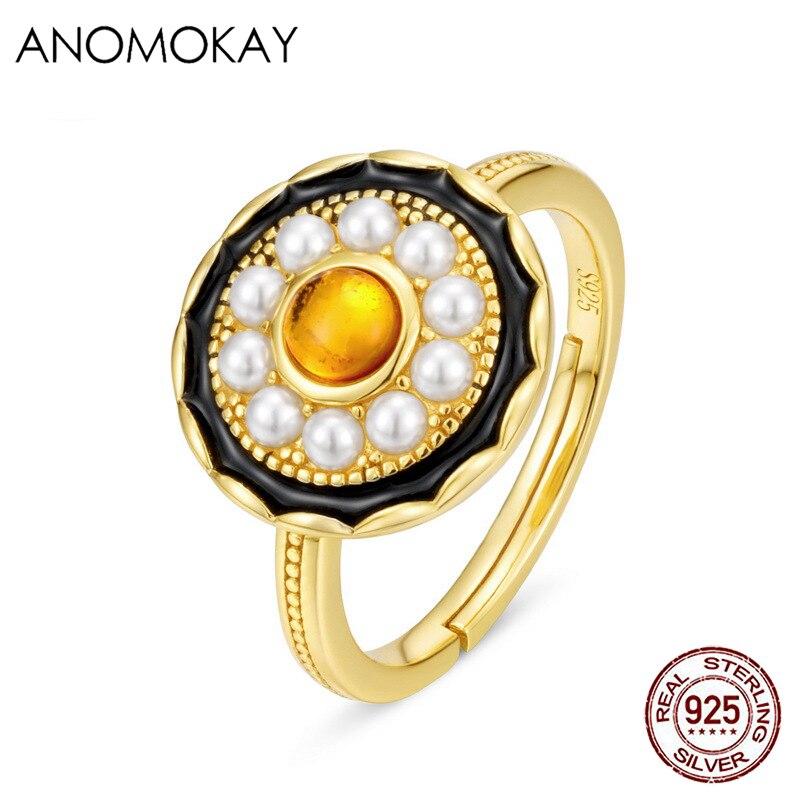 Anomook novo design pérola redonda cor de ouro anéis para mulheres luxo presente 925 sterling silver âmbar anéis redimensionáveis para festa