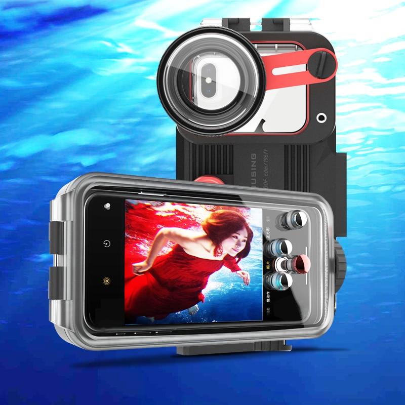 Subaquática Caso de Telefone Para Huawei P20 P30 Pro Companheiro 20 30 Pro 60M Carcaça Do Telefone À Prova D Água Com Lente HD para Mergulho Natação 1pc