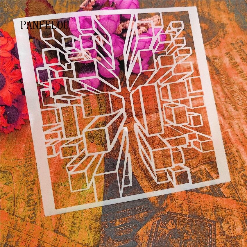 13*13cm Venta caliente espacio matriz álbum de recortes plantillas espray plástico molde escudo DIY pastel hueco adorno impresión encaje regla