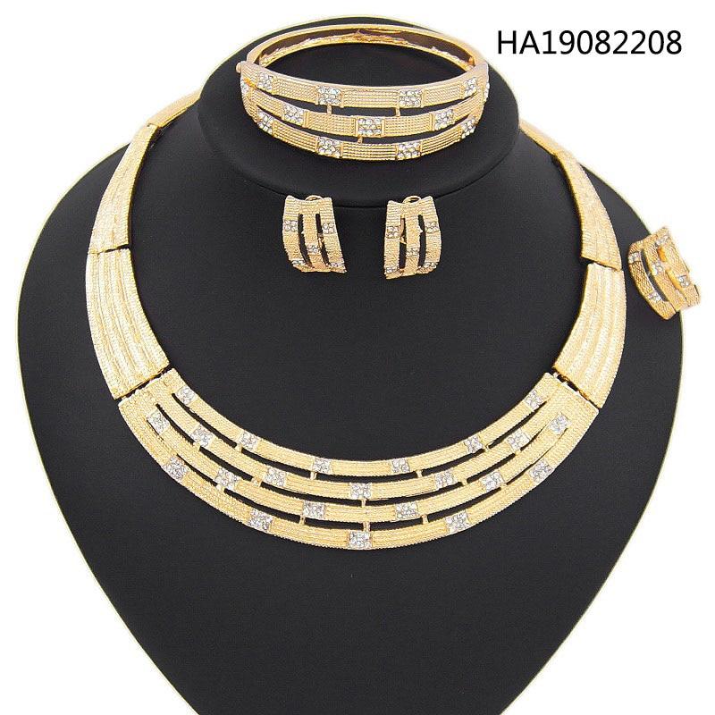Yulaili New Fashion Africa Beads Jewelry Sets Bridal Dubai Gold Crystal Necklace Stud Earrings 4pcs Nigeria Wedding Accessories