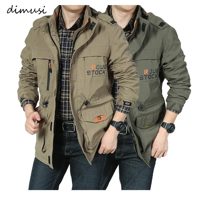 DIMUSI мужские куртки повседневная верхняя одежда походная ветровка с капюшоном пальто Модные армейские карго куртки-бомберы мужская одежда
