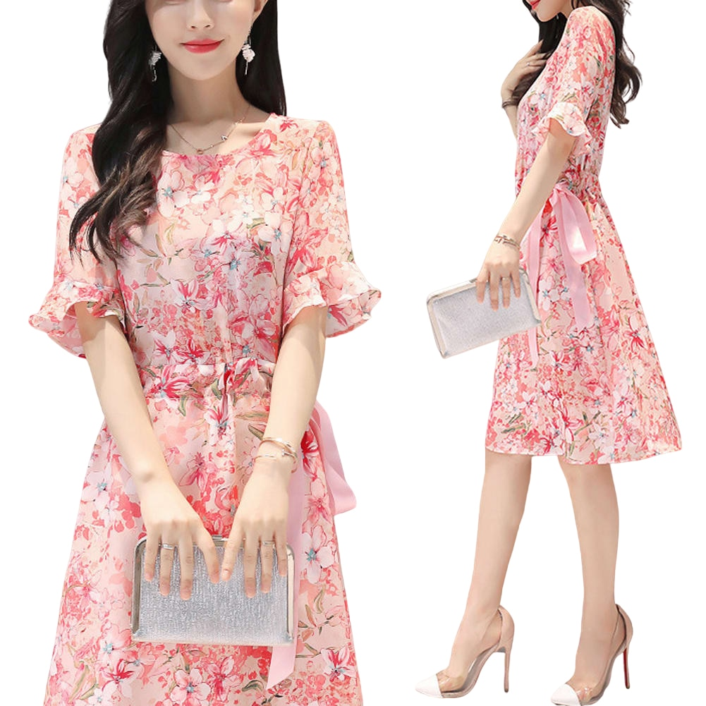 Платье женское летнее с цветочным принтом, круглым вырезом и рукавами-фонариками