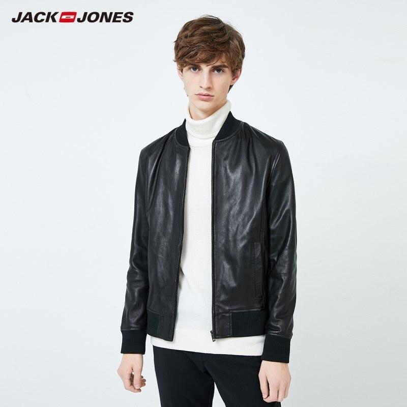 Jackjones tendência da moda masculina jaqueta de couro genuíno casaco de pele carneiro real estilo masculino 219310503