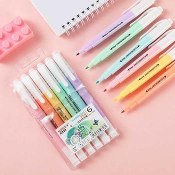 6-color Double-headed Highlighter Creative Watercolor Pen Set Standard Note Pen Marker Pen Color Office Supplies