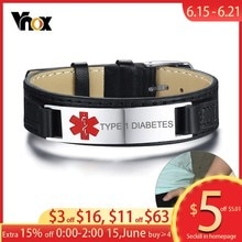 Vnox Typ 1 Diabetes Medical Alert ID Armbänder für Männer Leder Uhr Band Länge Verstellbar Sport Schmuck Dropship