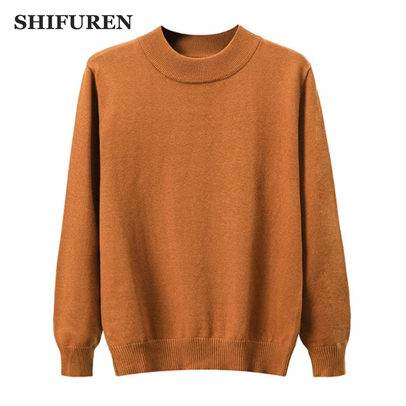 SHIFUREN Warm Half Turtleneck Pullover Men Sweaters 2019 Autumn Winter Pull Homme Slim Fit Classic Male Knitwear Sweaters недорого
