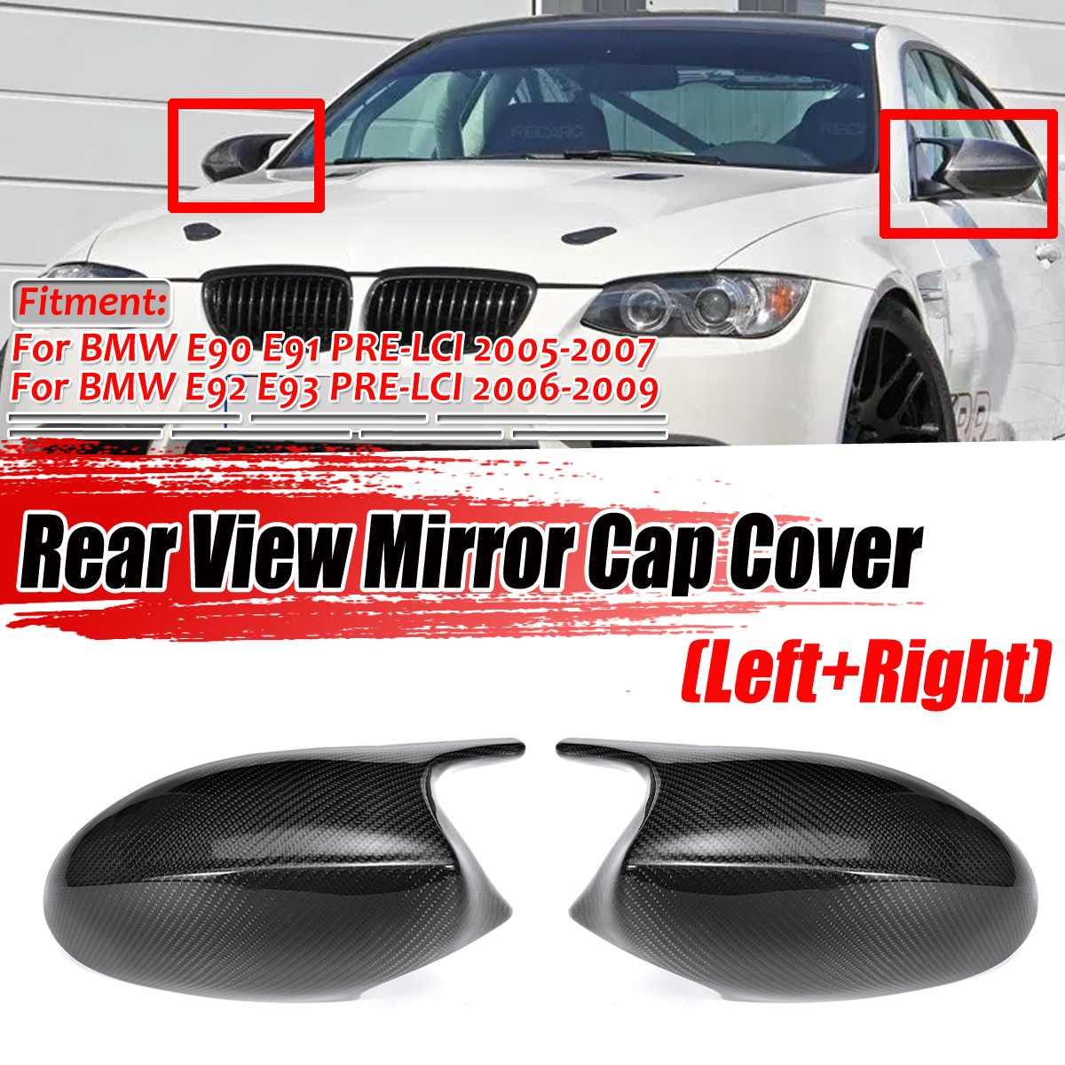 2 tapas de la cubierta del espejo E90 de la puerta del lado de la fibra de carbono del estilo M3 Real para BMW E90 E91 2005-2007 E92 E93 2006-2009 E81 E82 E88