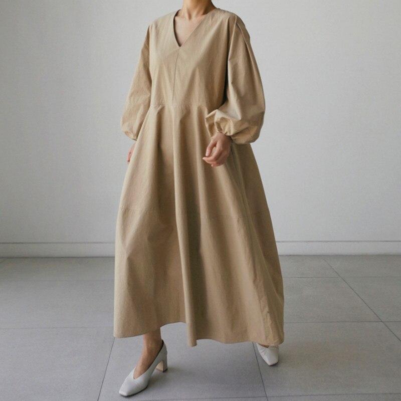 LANMREM V-necklantern Sleeves 2020 New Summer Fashion Women Dress Loose Large Size Shirt Dress Over Knee Long Dresses WL91004XL
