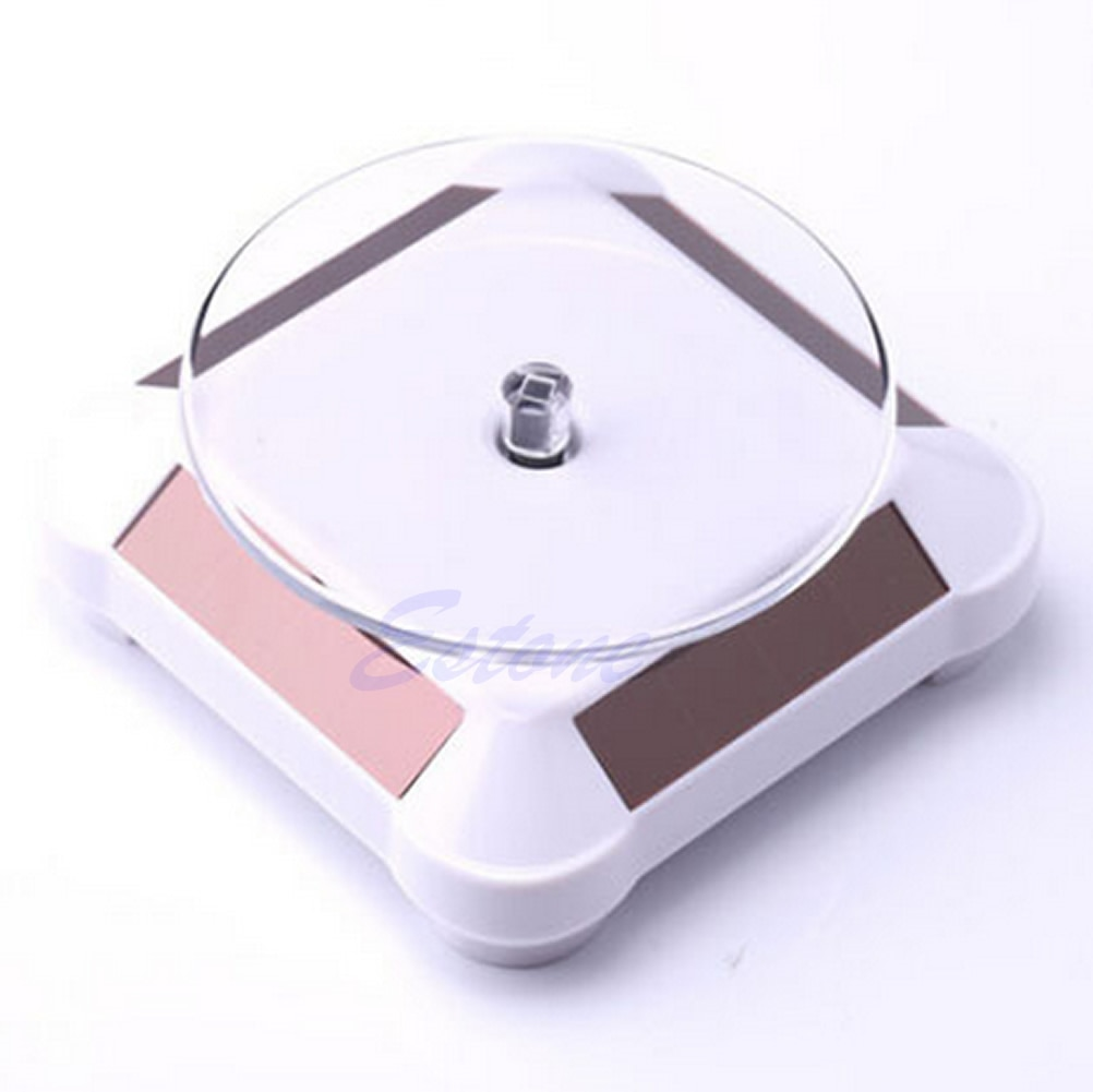 Solar Showcase 360 Rotating Turntable Jewelry Watch Ring Phone Display Stand R9JE