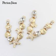 1 paar goldene meer stil V-kette strand schuhe strass metall Muschel seestern dekorative zubehör