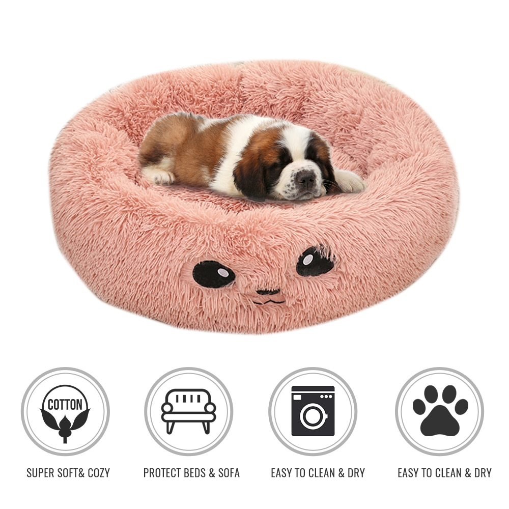 Oso de felpa esponjoso largo cama de perro mascota perrera redonda de lana tumbona saco de dormir de gato sofá cálido de invierno cesta para pequeño sofá de perro grande
