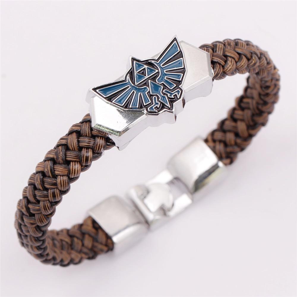 Die Zelda Armreifen Leder Weave Alloy Armband Mit Magie Magnetische Schnalle Chram Seil Armband Armband Armreif Schmuck