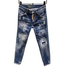 Starbag dsq design italien été nouveau style coupe ajustée élastique petite jambe jean délavé usé avec des trous peinture dot pantalons pour hommes