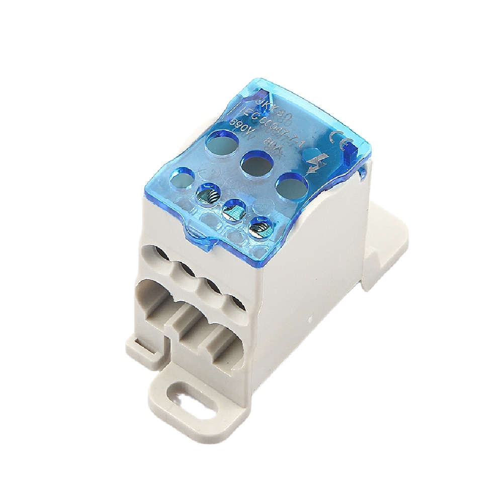 UKK 80A Din Rail Distribution Box Block One In Multiple Out Power Universal Electric Wire Connector Junction Box Terminal Block недорого
