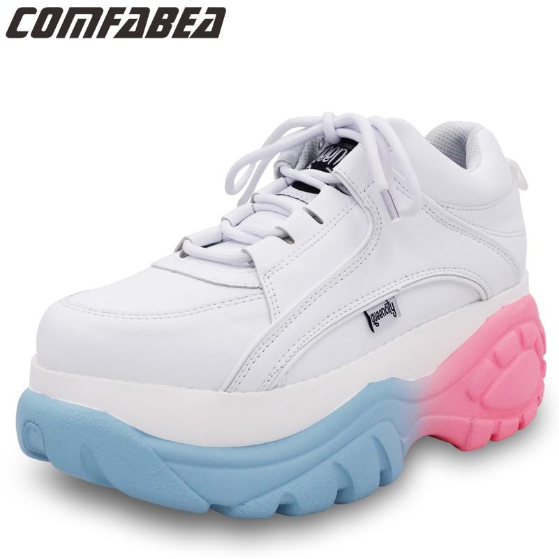 COMFABEA Sneakers Women Spring Autumn Shoes Platform Shoes Goth Women's Winter Shoes White Color
