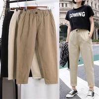 beige high waist casual pants women loose spring autumn 2019 new womens korean slim harem pants plus size nine pants 3xl f279