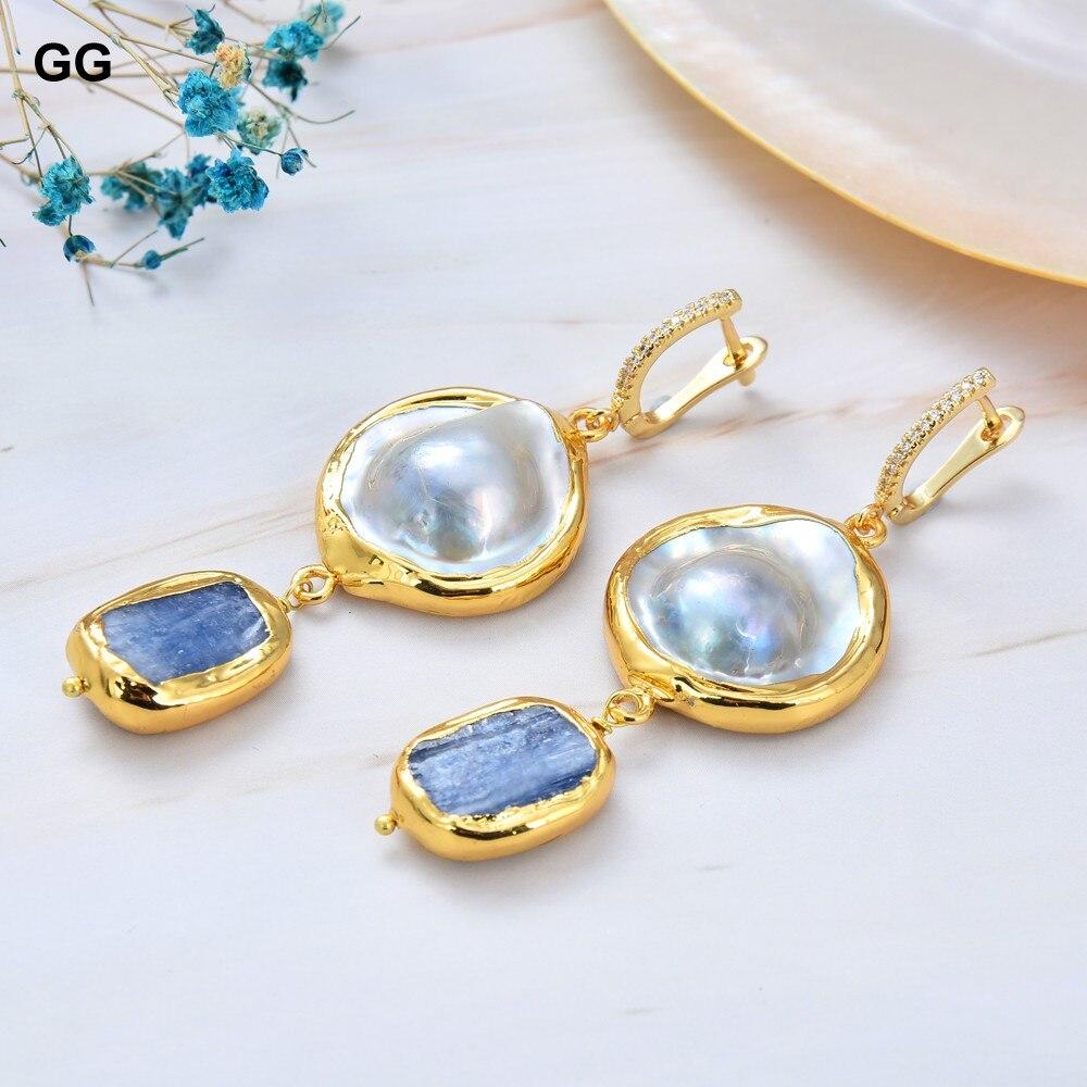 GG Jewelry-أقراط كيانيت زرقاء طبيعية على شكل عملة معدنية للنساء ، أقراط على شكل خطاف ، زركونيا مكعبة ، لون ذهبي ، فكرة هدية