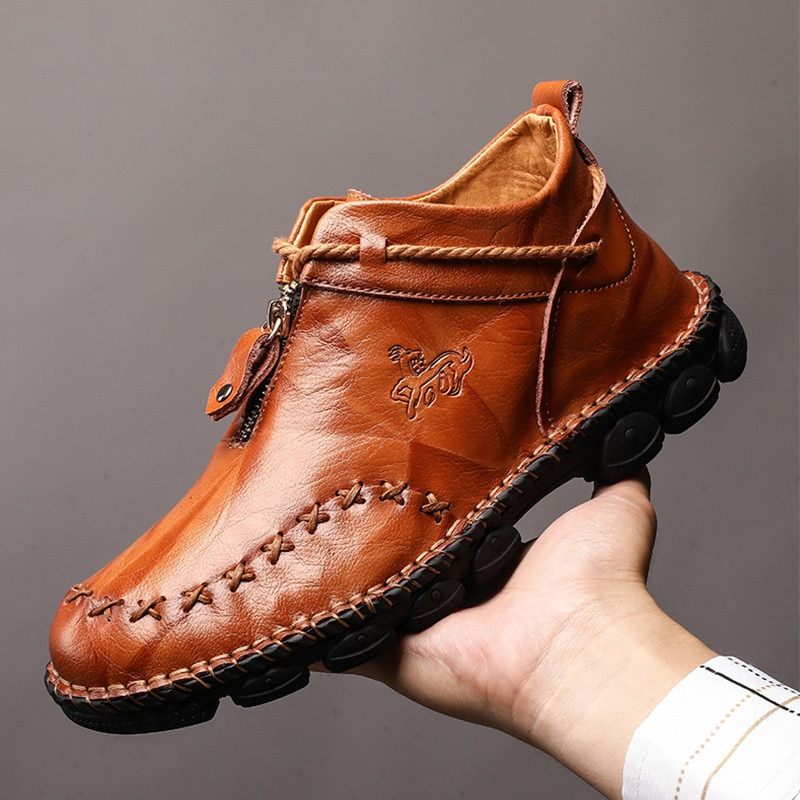 Высококачественные мужские ботинки из натуральной кожи модная обувь на молнии мужские коричневые ботильоны из коровьей кожи осень 2019 размера плюс 38-48