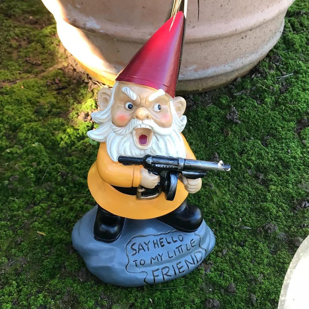 3D Dwarf Resin Gnome Doll Garden Figurines Courtyard Landscape Decoration Take Gun Dwarf Sculpture Naughty Garden Gnome Statue