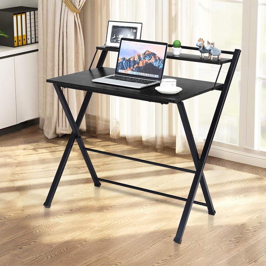 Folding Computer Desk, Space-Saving Home Office Desk Working Table with Storage Shelf, Multipurpose Foldable Study Desk