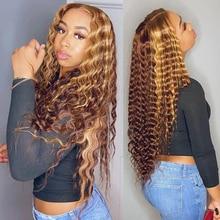 Peluca de cabello humano rizado color rubio miel degradado, parte en T, encaje Frontal, brasileño, Hd, transparente, Onda de agua profunda