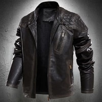 spring fashion locomotive leather jackets mens pull style jacket youth handsome stand coats solid color leather coat