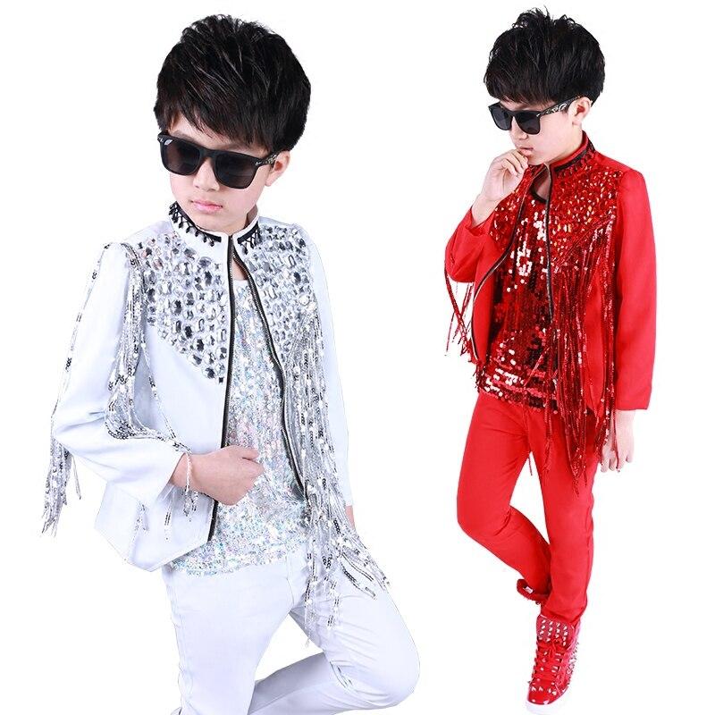 أزياء الجاز للأطفال ، معطف شرابة حجر الراين اللامع للأولاد ، ملابس رقص الهيب هوب ، ملابس رقص الشارع للأطفال ، عرض مسرحي ، مجموعة جديدة 2021