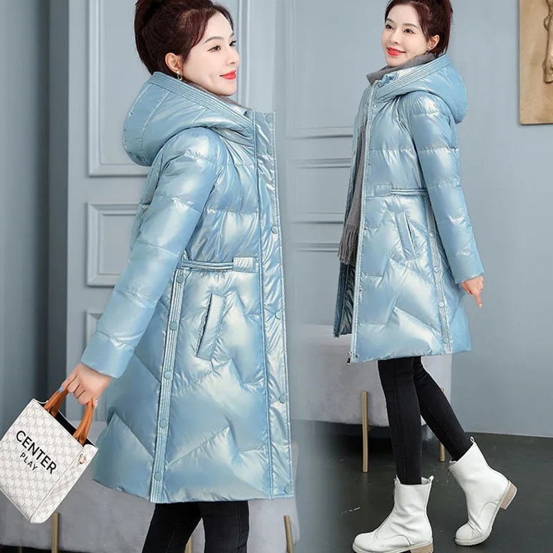 جاكت شتوي جديد بارد دافئ ملابس خارجية نسائية طويلة بدون غسل لامعة أسفل سترات قطنية غير رسمية بقلنسوة سترة معطف ضد الرياح