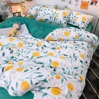 modern nordic style bedding set floral leaf printed bed linen set twin full queen king duvet cover flat bedsheet with pillowcase