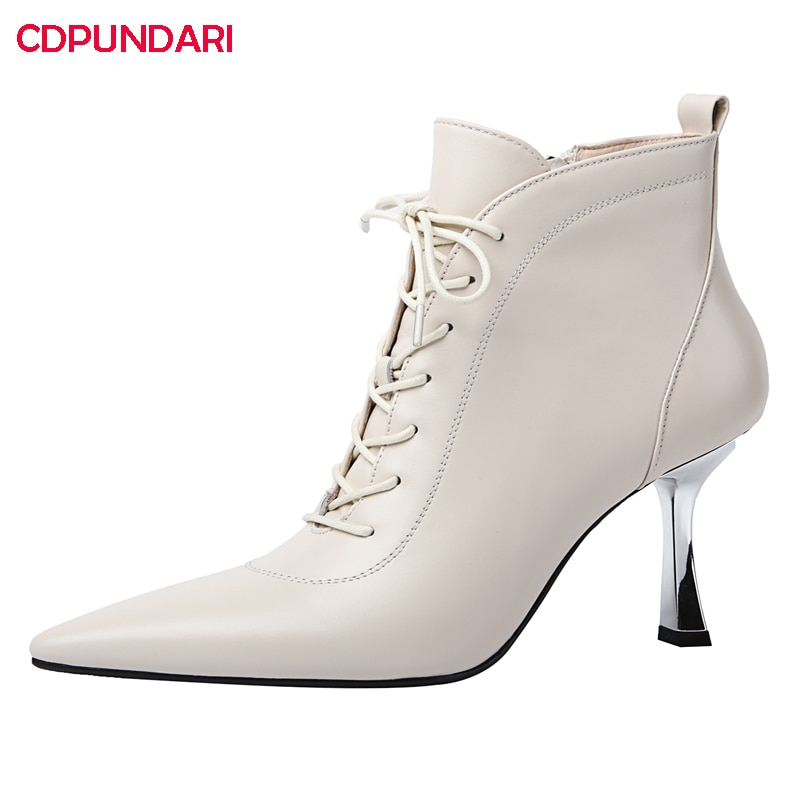 Sexy Black White Genuine Leather Stiletto High Heels Ankle Boots Women Autumn Modern Short Boots Party Shoes Bottines Femme
