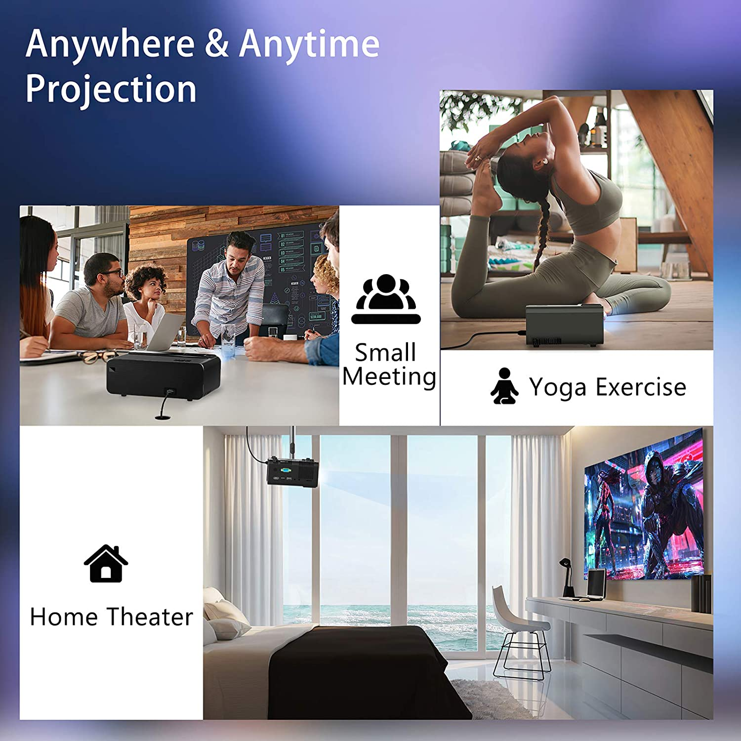 Mini Wifi LED Projector 1080p/720p Support VGA/USB/HDMI 3D Home Video Projector With Remote Control For Android iPhone Xbox/PS4 enlarge
