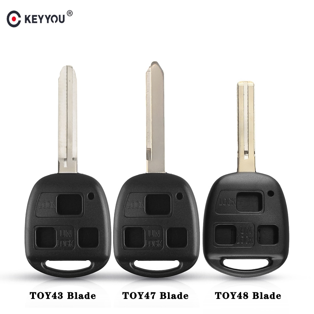 KEYYOU Remote Car Shell Key Case Fob 3 Buttons  For Toyota Celica Avensis RAV4 Prado Camry Corolla YARIS RAV4 Land Cruiser