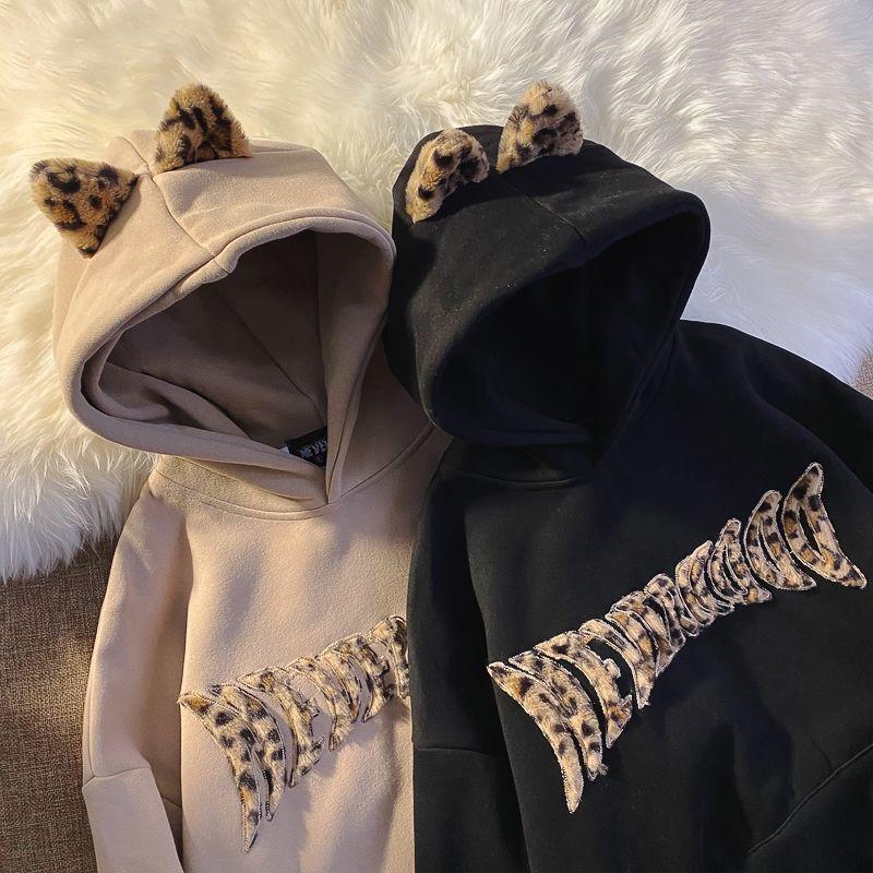 Худи HOUZHOU в стиле Харадзюку большого размера, корейские модные повседневные пуловеры, женские зимние теплые толстые свитшоты, свободная ули...