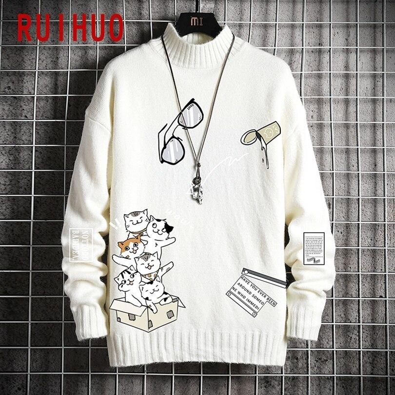 RUIHUO 2020 Autumn Cartoon Cats Jumper Mens Sweater Winter Clothes Mens Sweaters Pullover Men's Jumpers Korean Clothes M-5XL