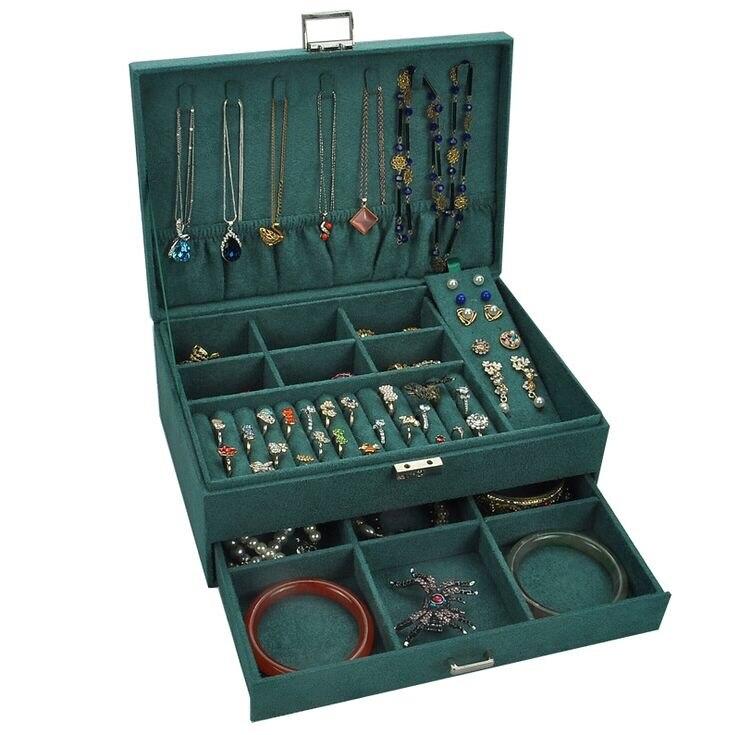 Con caja de almacenamiento de bloqueo anillo sólido collar mujer cuero PU pendientes de diamantes de la joyería caja doble capa titular hogar #30