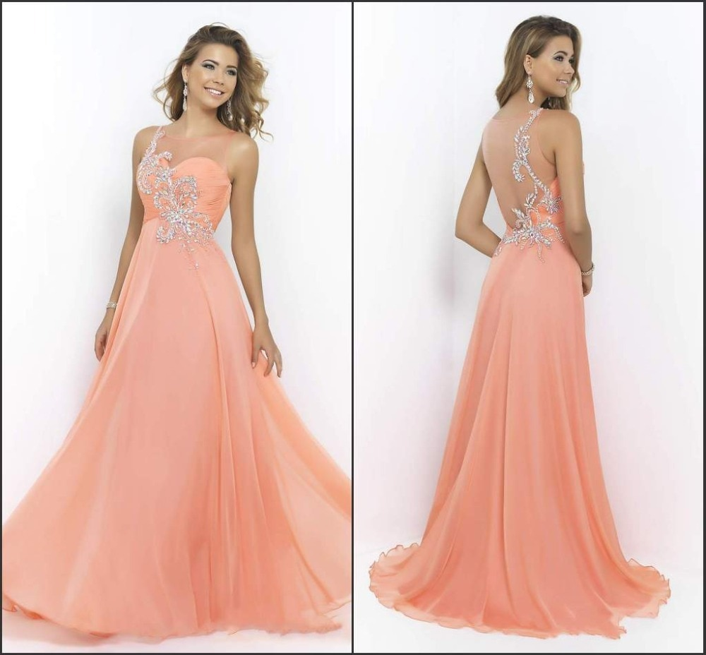 Vestidos De Fiesta Prom Sheer Scoop Crystal Beading Dress Coral Vestidos De Fiesta Largos Baratos 2015 Cheap Evening Dress