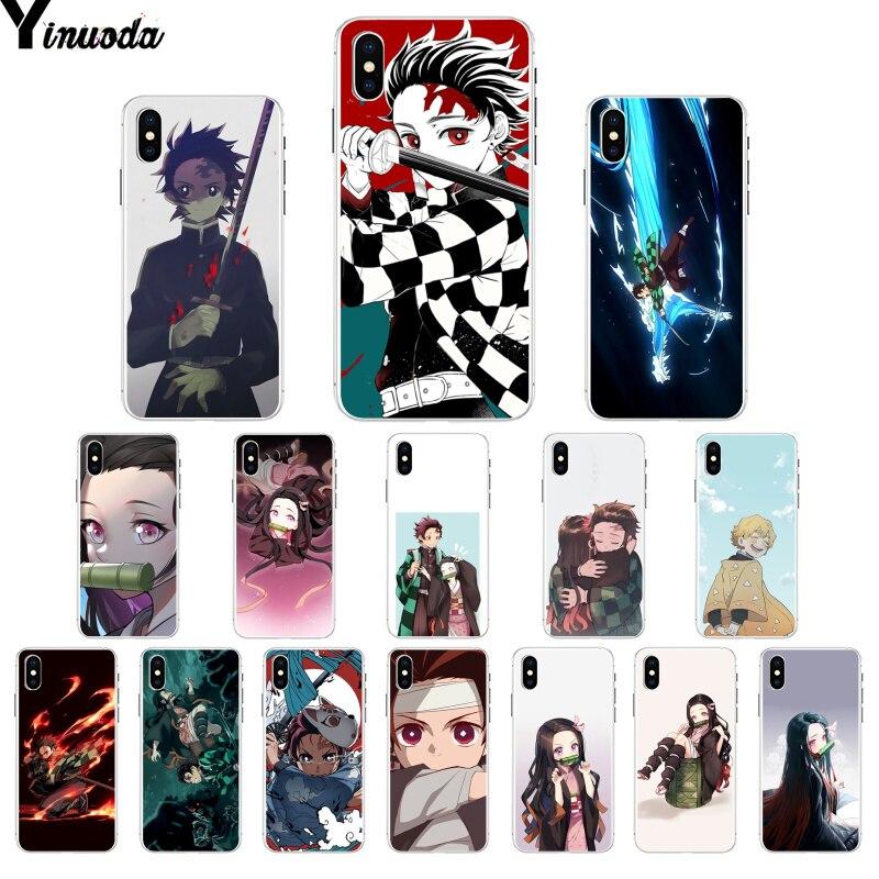Yinuoda demonio asesino Kimetsu no Yaiba lindo colorido accesorios del teléfono caso para Apple iPhone 7 6 6S Plus X XS X MAX 5 5S SE XR