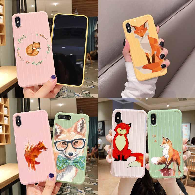 De Fox zorro lindo maleta Trolley textura funda para teléfono para iPhone 11 Pro Max X XS X MAX 8 7 6 6S Plus
