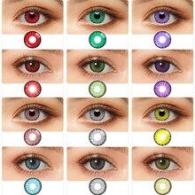 צבעוני קוספליי מגעים 1 זוג עדשות מגע אדום חום אפור כחול ורוד עדשות לעיניים יופי Pupilentes צבע עדשת קשר