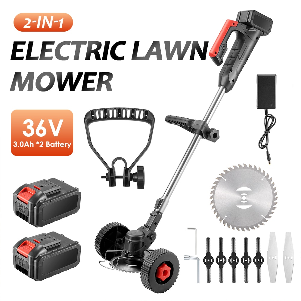 36V Electric Lawn Mower Cordless 6000rpm 2 pieces* 3.0Ah Batteries Grass Trimmer Brush Cutter Tool for Weed-Wacking
