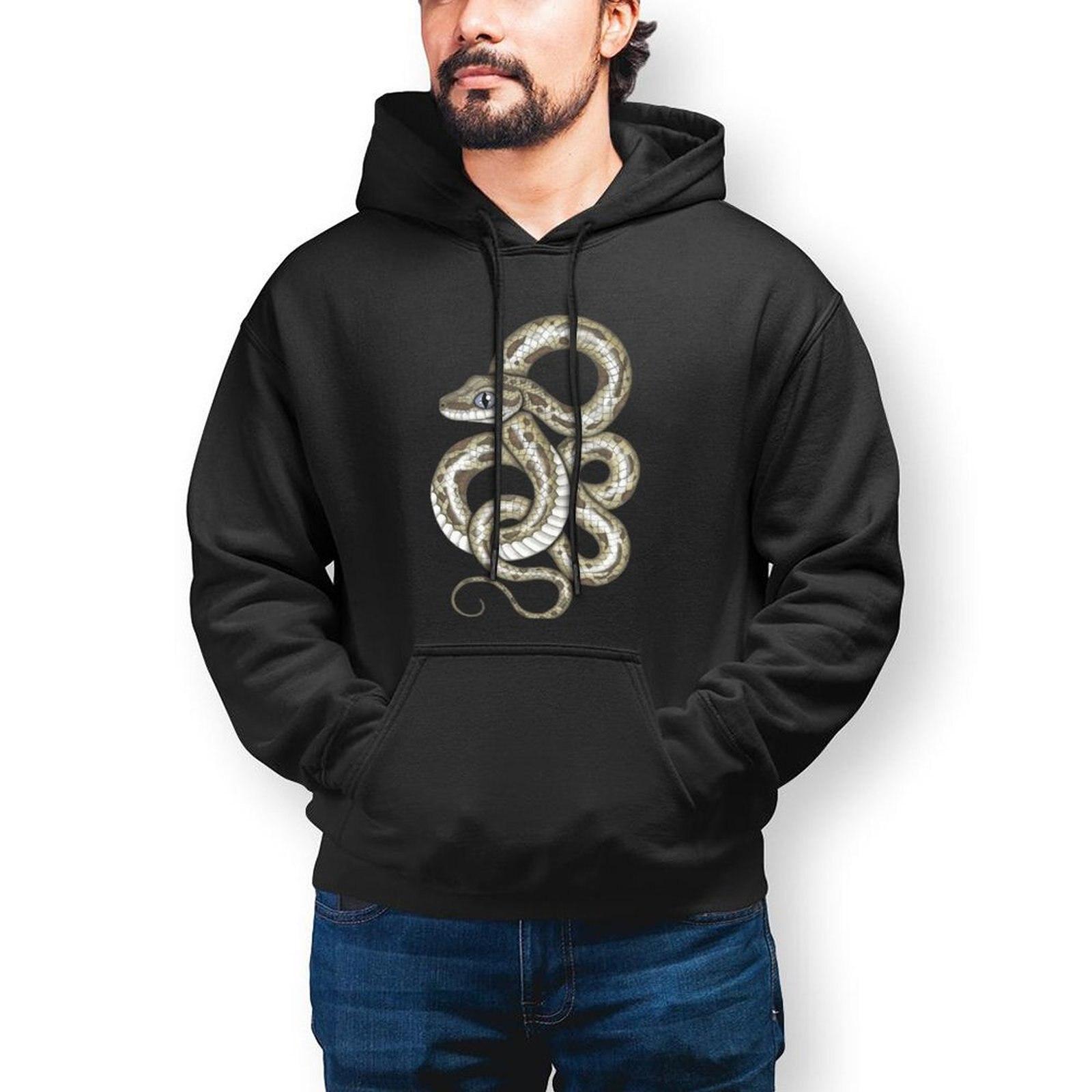 Толстовка мужская с капюшоном, симпатичная длинная хлопковая кофта со змеиным принтом, пуловер оверсайз, уличная одежда на осень