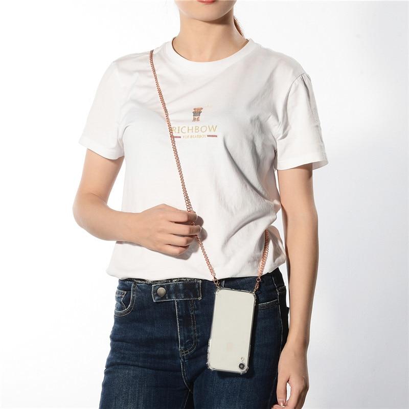 Correa de cordón de Metal Cadena de cinta collar funda de teléfono para Xiaomi mi 9 9SE 8 Lite A2 acollador funda para hombro Redmi NOTE 7 8 GO 6 PRO