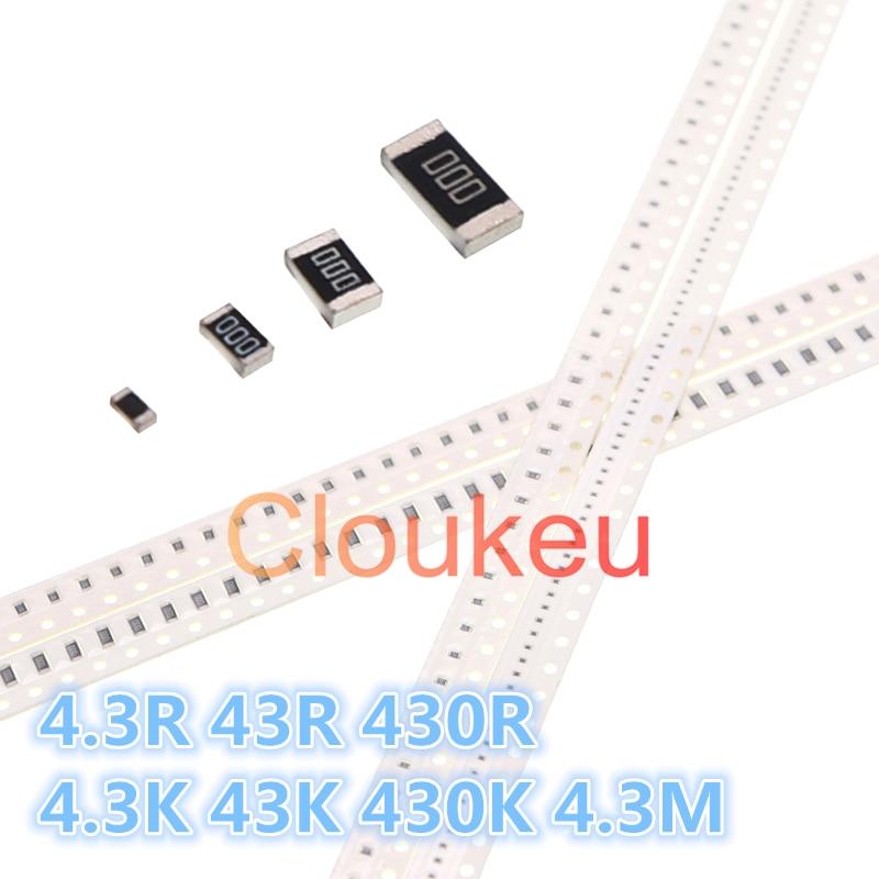 0402 0603 0805 1206 1210 1812 2010 2512 1% 5% Chip De Resistor 4.3R 43R 43 430R 4.3K K 430K 4.3M Ohm