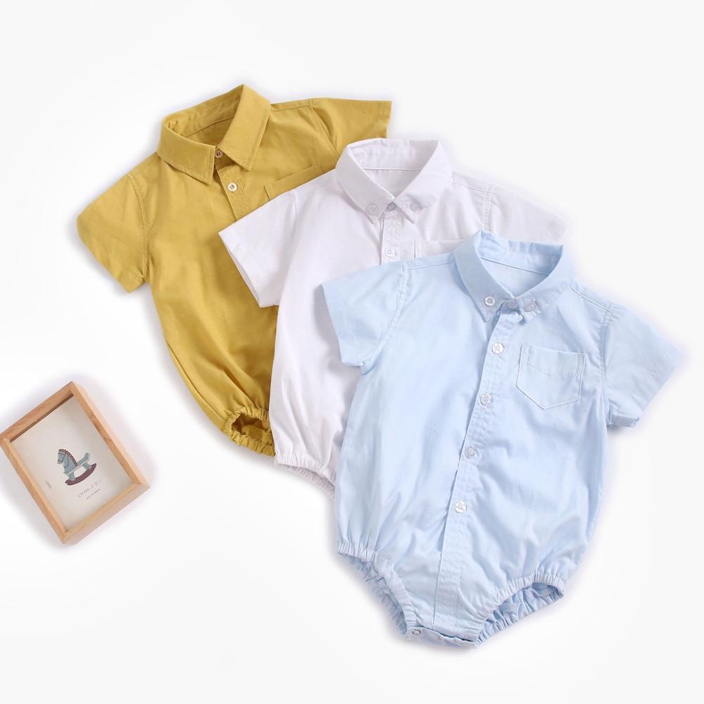 Sanlutoz verão bebê meninos bodysuits algodão roupas de bebê cor sólida moda manga curta infantil roupas casuais