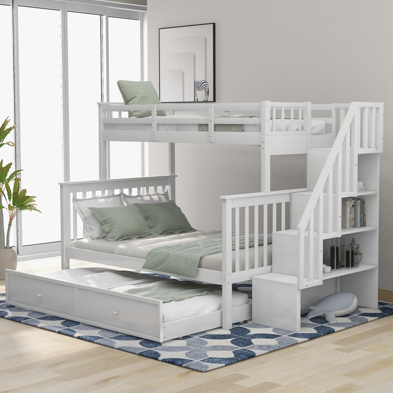 Stairway Twin-Over-Full Bunk Bed With Twin Size Trundle, Storage And Guard Rail For Bedroom, Dorm, For Kids, Adults