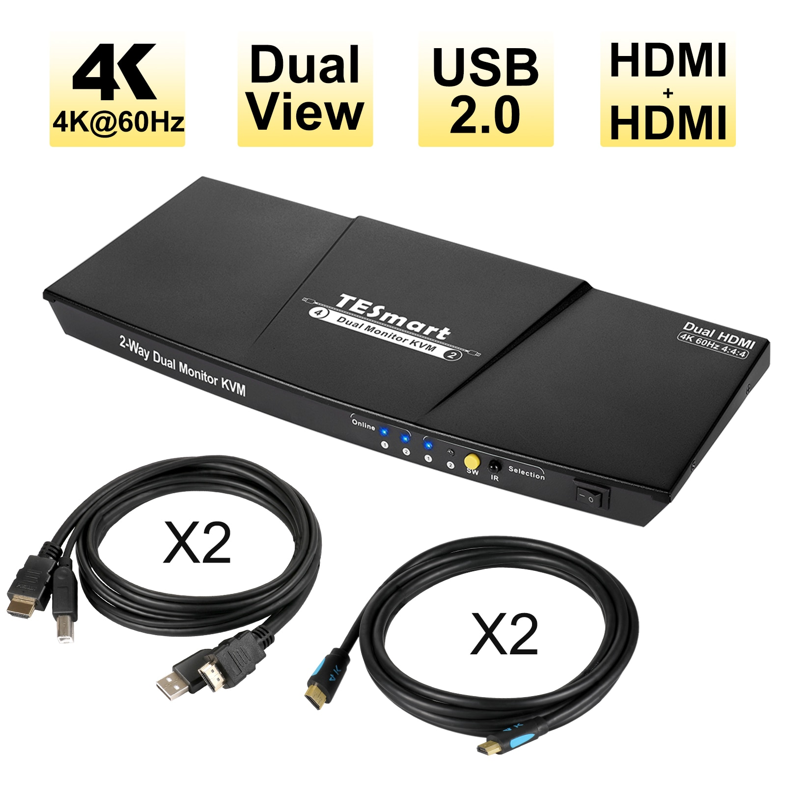 TESmart المزدوج HDMI 4x2 المزدوج رصد مفتاح ماكينة افتراضية معتمدة على النواة 2 ميناء تحديث 4K @ 60Hz ، ودعم HDR 10 ، HDCP 2.2 (أسود) لفة على الصورة إلى z
