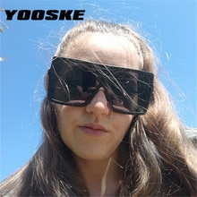 YOOSKE Praça Oversized Shades Óculos de Sol Lente Gradiente de Óculos De Sol Das Mulheres Designer de Marca Do Vintage Homens Óculos Grande Quadro Hop