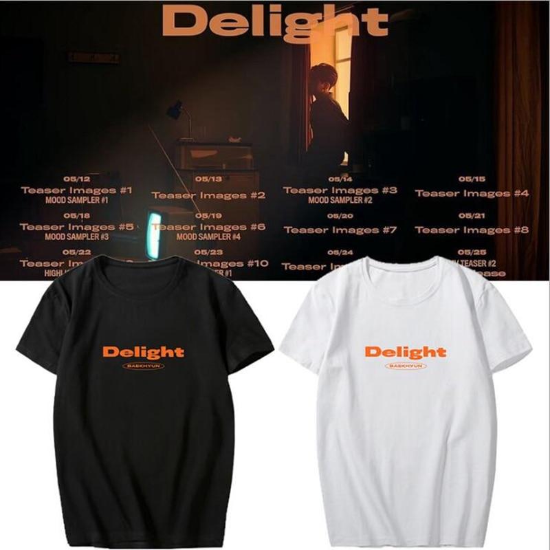 Kpop baekhyun camiseta solo 2 delight álbum unisex manga curta verão tshirt exo algodão mistura casual t