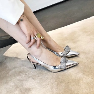 Women's New Fashion Rhinestone Elegant Metallic Silver High heeled Stiletto Shoes Pointed-Toed Party Office Pumps Slingbacks