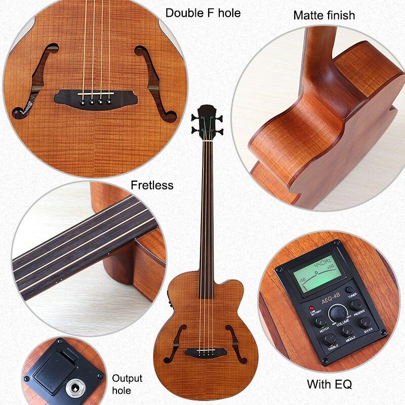 43 inch Jumbo bass acoustic bass guitar F hole full flame OAK fretless 4 string bass guitar with EQ electric acoustic gutiar enlarge